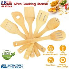 New Listing6Pcs Cooking Utensil Bamboo Spoons Spatula Cooking Cookware Kitchen Gadget Tools