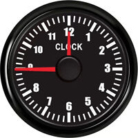 Auto 52mm Clock Gauge 12Hours Clock Meter Red Backlight Hour Meter for Car Boat