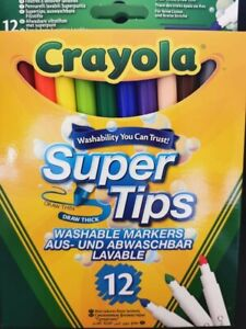 New Crayola Super Tips Washable Markers 12 pack Multicoloured