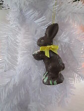 "Raz Faux, Fake Chocolate Easter Bunny Rabbit w/ Yellow  Bow Ornament, 4"" New"
