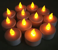 New Flickering 12 Flicker AMBER Light Flameless LED Tealight Tea Candles