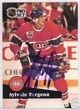 SYLVAIN TURGEON Montreal Canadiens 1992 PROSET AUTOGRAPHED HOCKEY CARD JSA