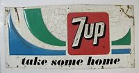 7up Take Some Home Sign 1960-70s embossed metal advertising soda sign
