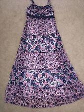 "Justice Girl long 40"" Maxi Dress Adjustable Straps sleeveless summer floral SZ 8"