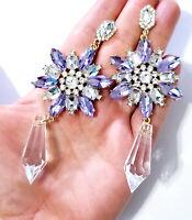 Rhinestone Chandelier Earrings 4 inch Pageant Drag Bridal Prom Purple Star