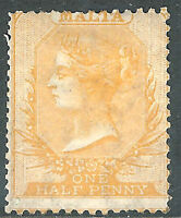 Malta 1863/81 yellow-buff 1/2d mint crown CC SG10