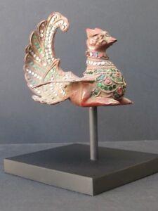 Bird Sacred Wooden Inlays Glass, Burma