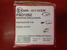 PASTIGLIE Freno Anteriore APEC per adattarsi SKODA FABIA ROOMSTER VW POLO CORDOBA pad1252