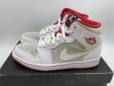 Nike Air Jordan 1 Retro Mid OG Hare Bugs Bunny White Red Grey 719551-123 Sz 7.5