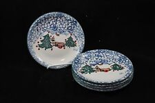 "Folk Craft Tienshan Cabin in the Snow Salad Plates 7-5/8"" Set of 5"