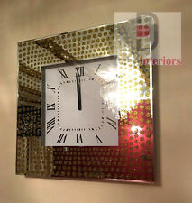 NEW Shimmer Glitter Dot Crystals Mirrored Glass Gold/silver Square Wall Clock