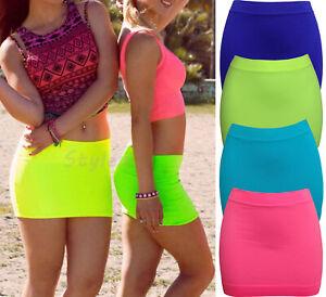 Women Micro Skirt Sexy Short Mini Bodycon Cocktail Stretch Booty Neon Club wear