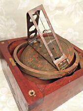 Vintage Pelorus Marine/Nautical Nice Wood Case Sighting Vanes Maker Unknown