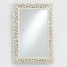 Rectangular Wood Carved Whitewashed Mirror ~ Scrolled Design ~ Distressed Finish