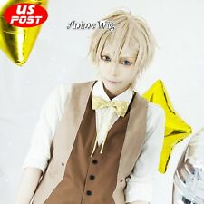 Anime Idolish7 Nagi Rokuya Light Blonde Hair Short Men Cosplay Straight Wig