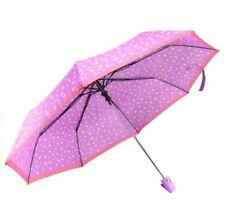 Cool Rainy Floral Printed Art 3 Folds Automatic Foldable Umbrella (Pink)