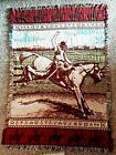 VTG Cowboy Tapestry Blanket Afghan Throw Rodeo Horse Thick Fringe Huge