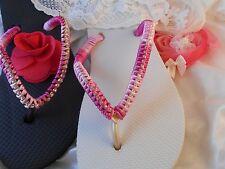 Pink Slim  Havaianas Flip Flops Swarovski Crystals For Women Girl White Sandals