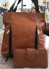 Valentina Brown Leather Tote Shoulder Bag Made In Italy + Vera Pelle Wallet EUC!
