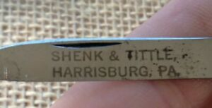 Vintage KA-BAR Union Cut New York Celluloid Etched Pen Fob Folding Pocket Knife
