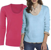 Size 12 - 22 Ladies Soft Knit Scoop Neck Long Jumpers in Baby Blue / Coral Pink