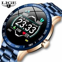 LIGE Steel Band Smart Watch Men Heart Rate Blood Pressure Monitor Waterproof