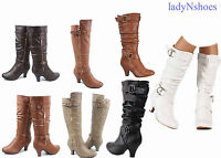 New Women's Fashion Dress  Low Heel Zipper Mid Calf Knee High Boots