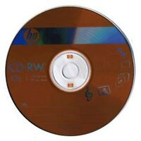 10 Pcs HP Brand 12X Logo Top CD-RW ReWritable Blank Disc with Paper Sleeves