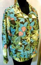 CHICOS Green Jungle Print Light weight Jacket Top 2 100% Cotton