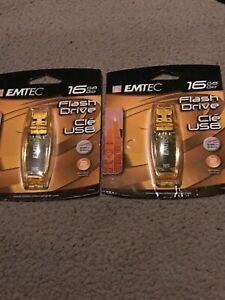 EMTEC C400 16 GB USB Flash Drive Lot Of 2 Transparent