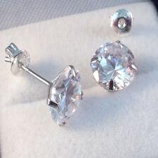 925 Sterling Silver Round Cut 7 mm Men/Women Clear Lab Diamond Stud Earrings