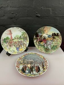 3 x Vintage Wedgwood Feasts and Festivals Plates Jenny Rhodes 23 cm Wide Set