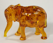 "Amber Animal Elephant Figurine Sculpture 3.25"" tall"