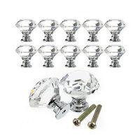 10Pcs Crystal Glass Cabinet Knob Diamond Shape 30mm Drawer Cupboard Handle P*US