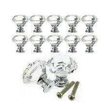 10Pcs Crystal Glass Cabinet Knob Diamond Shape 30mm Drawer Cupboard Handle BH
