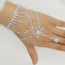 Rhinestone Crystal Star Chain Bracelet Finger Ring Hand Harness Wedding Bridal