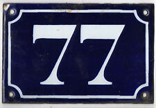 Old blue French house number 77 door gate plate plaque enamel metal sign c1900