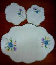 Lovely Embroidered Doilies ~3 Piece Set~Flowers~2 X Sml 15 Cm ~1 X 43 Cm x 31 Cm