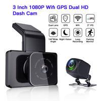 3 Inch Dual Lens HD Wifi GPS Dash Camera Camcorder Parking Monitor Night Vision