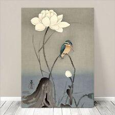 "Beautiful Japanese Bird Art ~ CANVAS PRINT 36x24"" ~ Kingfisher & Lotus Flower"