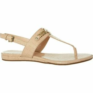 GUESS Women's HEARING-B Faux Leather Toe Post Sandals, Nude, size UK 6 / EU 39