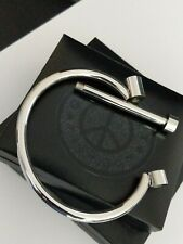 Mens Chunky Silver Stainless Steel Screw End Shackle Bar Handcuff Bangle XMAS UK