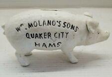 Wm. Moland's Sons Quaker City Hams Cast Iron Piggy Bank, Pig Collectible