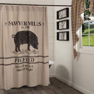 VHC Brands Farmhouse Shower Pig Curtain Tan Rod Pocket Stenciled Mill Bath Decor
