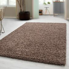 Small – Extra Large Size Thick Modern Plain Non Shed Soft Shaggy Rug Rec & Round 200x290 Cm Mocca
