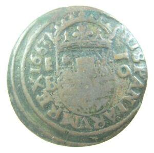 SPAIN 16 MARAVEDIS 1663 PHILIPE IV SPANISH SHARP 38# MONEY COIN