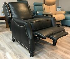 BRAND NEW Barcalounger Ashton II Genuine Pearlized Black Leather Recliner Chair