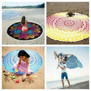 Round Ombre Meditation Beach Yoga Gypsy Cotton Table Cloth Towel Tapestry 72 Inc