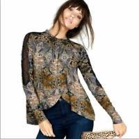 Free People S Small Top Blouse Nouveau New World Boho Cutout Lace Long Sleeve