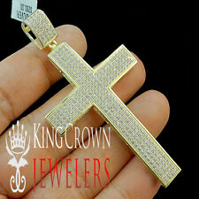 Mens Real Yellow Gold Sterling Silver Large Cross Pendant Simu Diamond 3.15''